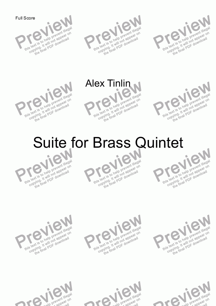 page one of Suite for Brass Quintet