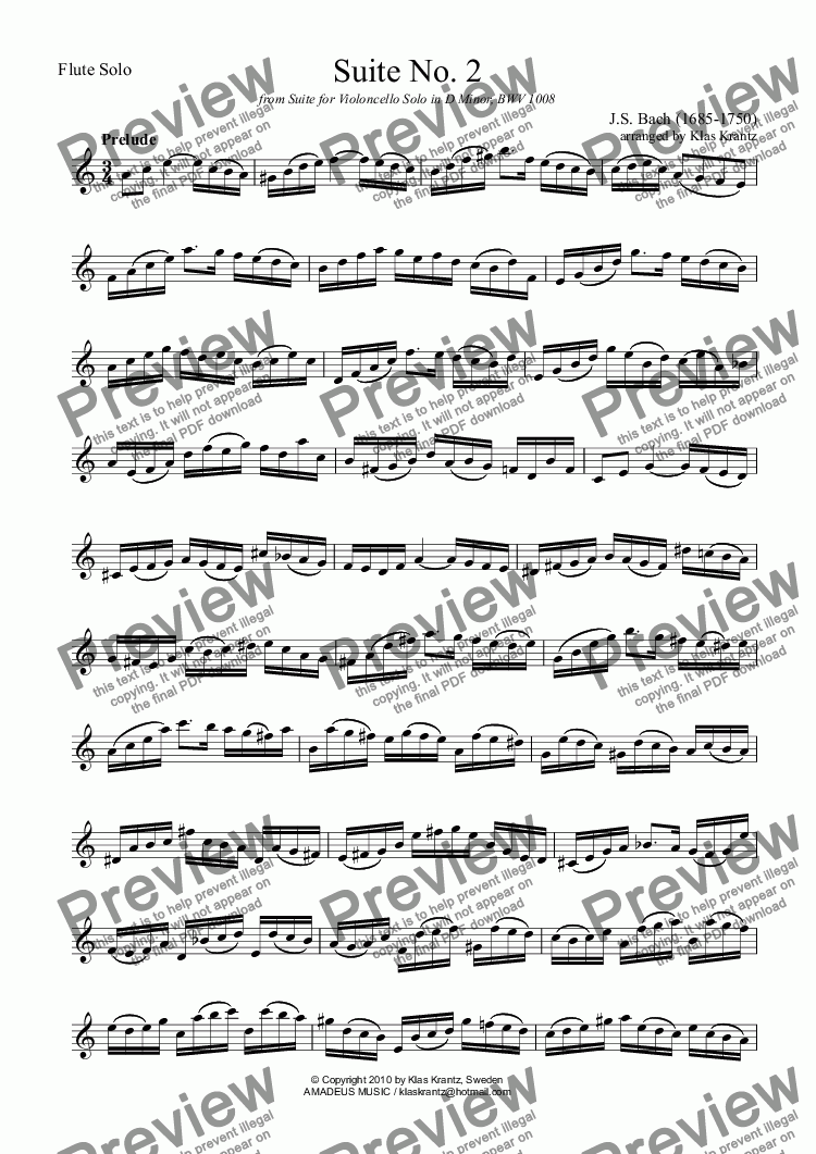 page one of Suite No. 2, BWV 1008 (orig. cello suite 2) for flute solo