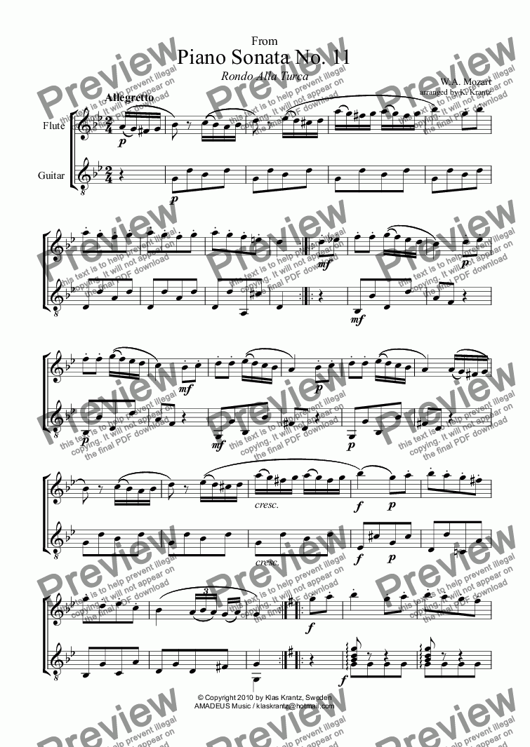 page one of Rondo Alla Turca for flute and guitarASALTTEXT