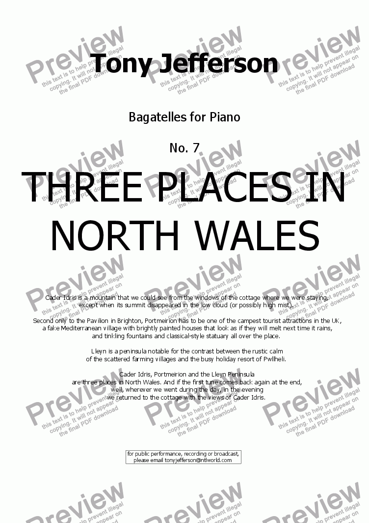 page one of Three Places in North Wales