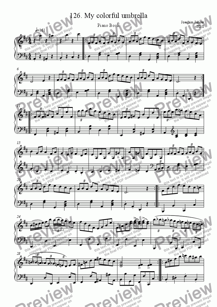 page one of Piano Book 126 (My colorful umbrella)ASALTTEXT