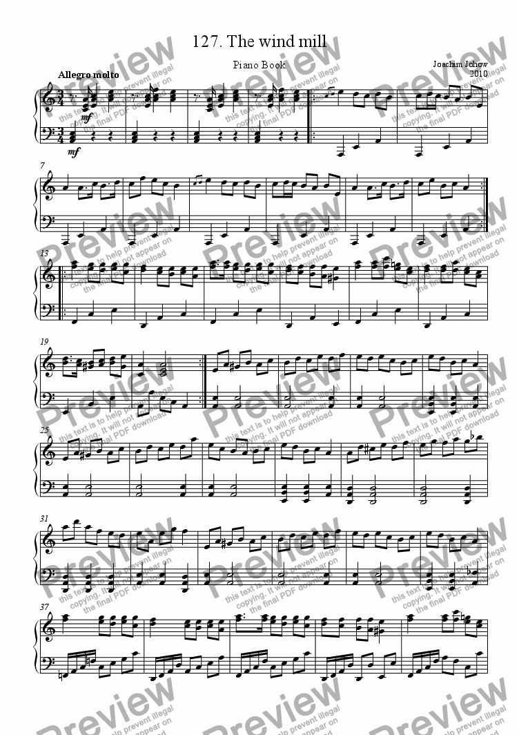 page one of Piano Book 127 (The wind mill)