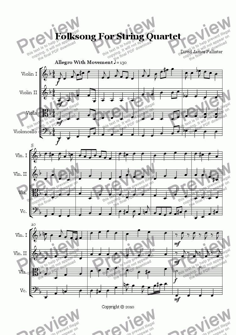 page one of Folksong For String Quartet
