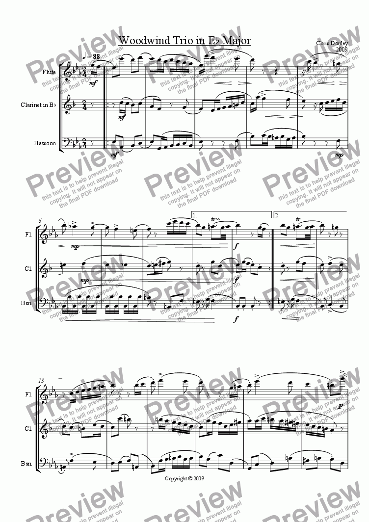page one of Woodwind Trio in Eb Major