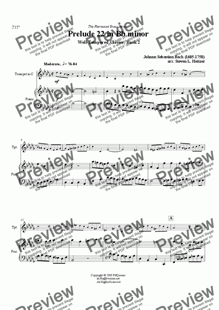 page one of Prelude 22, Bb minor (WTC Bk 2) - TRUMPET & pianoASALTTEXT