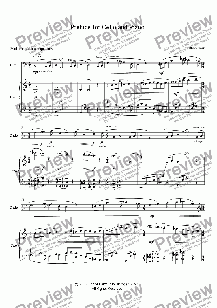 page one of Prelude for Cello and Piano