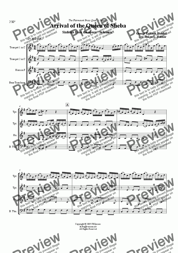 page one of Arrival of the Queen of Sheba (from Solomon) - Brass QUARTET