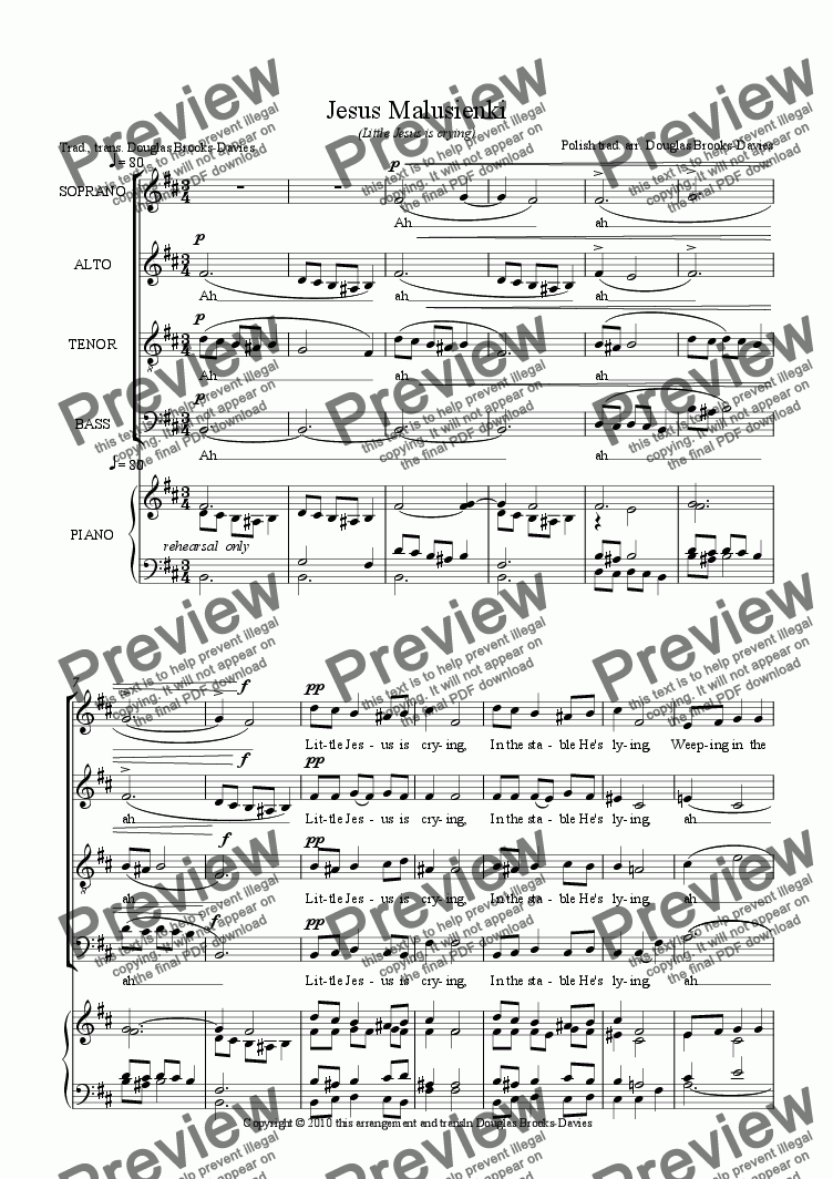 page one of Polish carol: Jezus Malusienki (Little Jesus is crying) for SATB choir a cappella. In English.ASALTTEXT