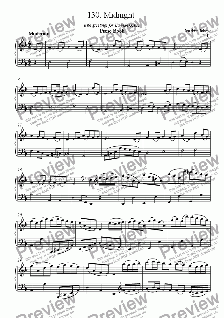 page one of Piano Book 130 (Midnight)