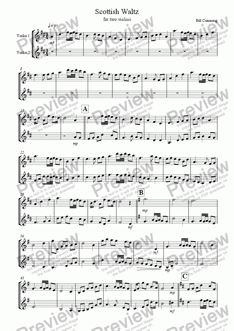 page one of Scottish Waltz for two violins
