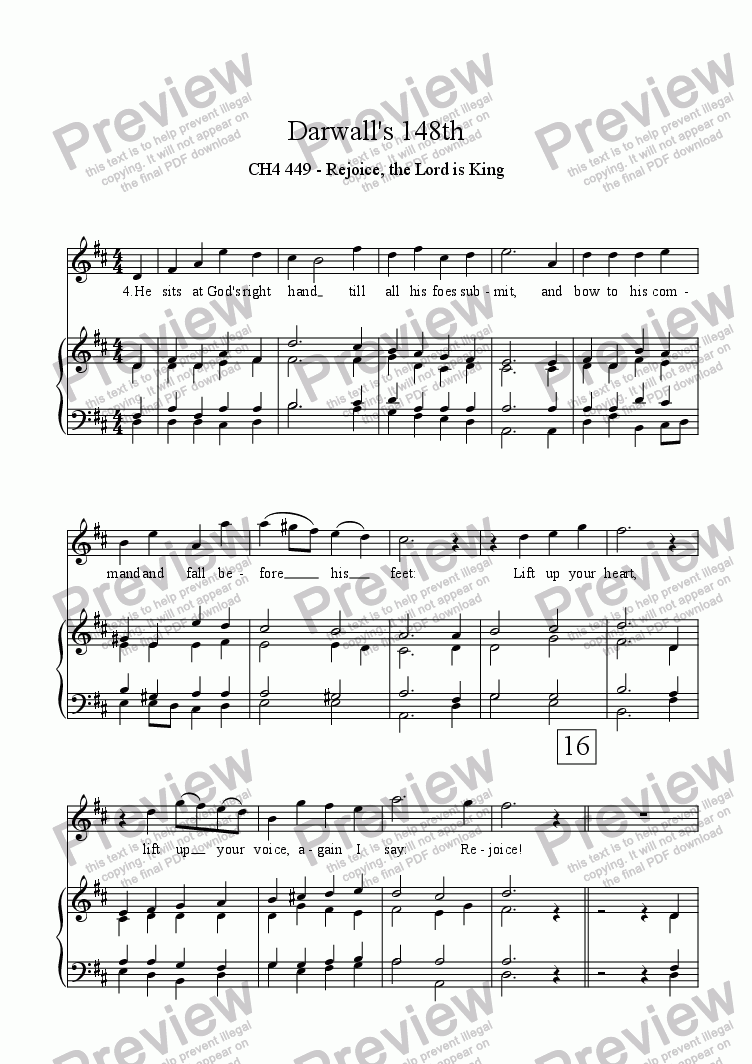 page one of Darwall's 148th - descant and alternative harmonisation