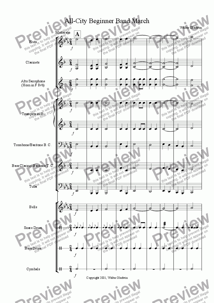 page one of All City Beginner Band March