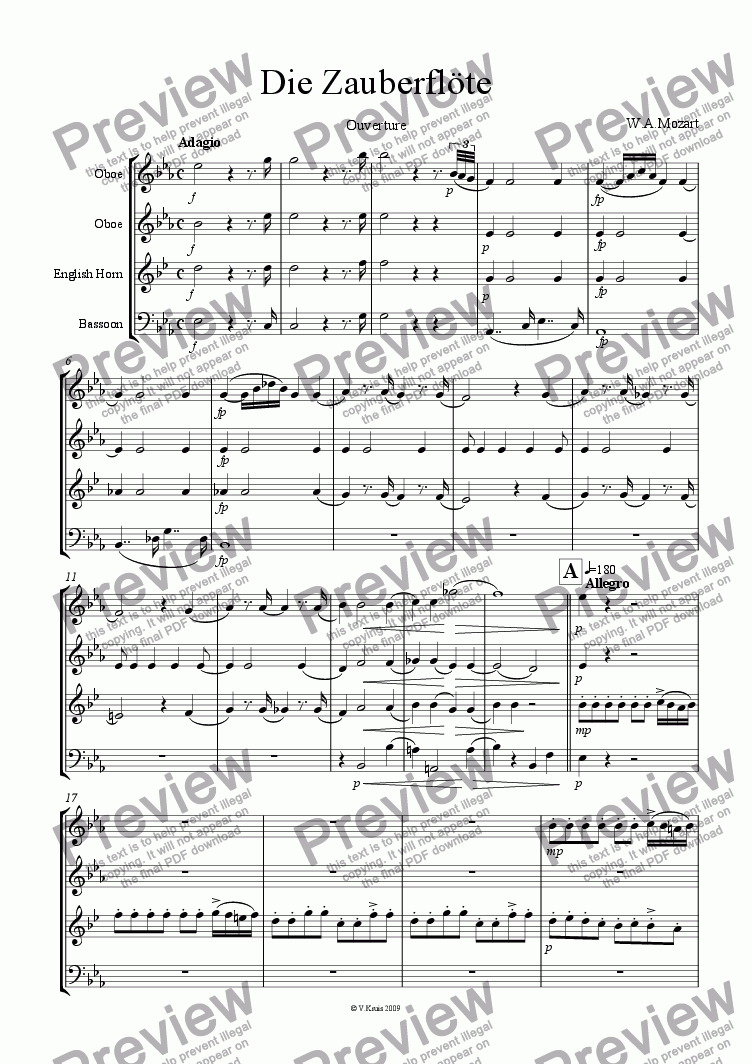 page one of Mozart - Die Zauberflote - Ouverture