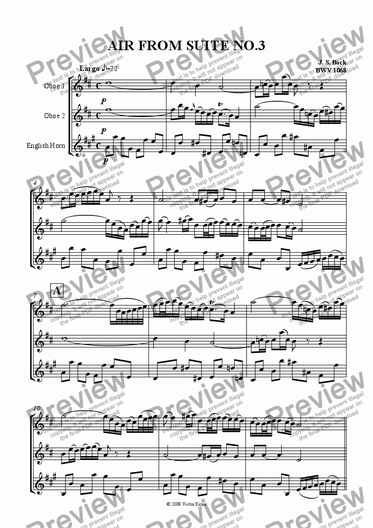 page one of Bach - Air from Suite nr 3