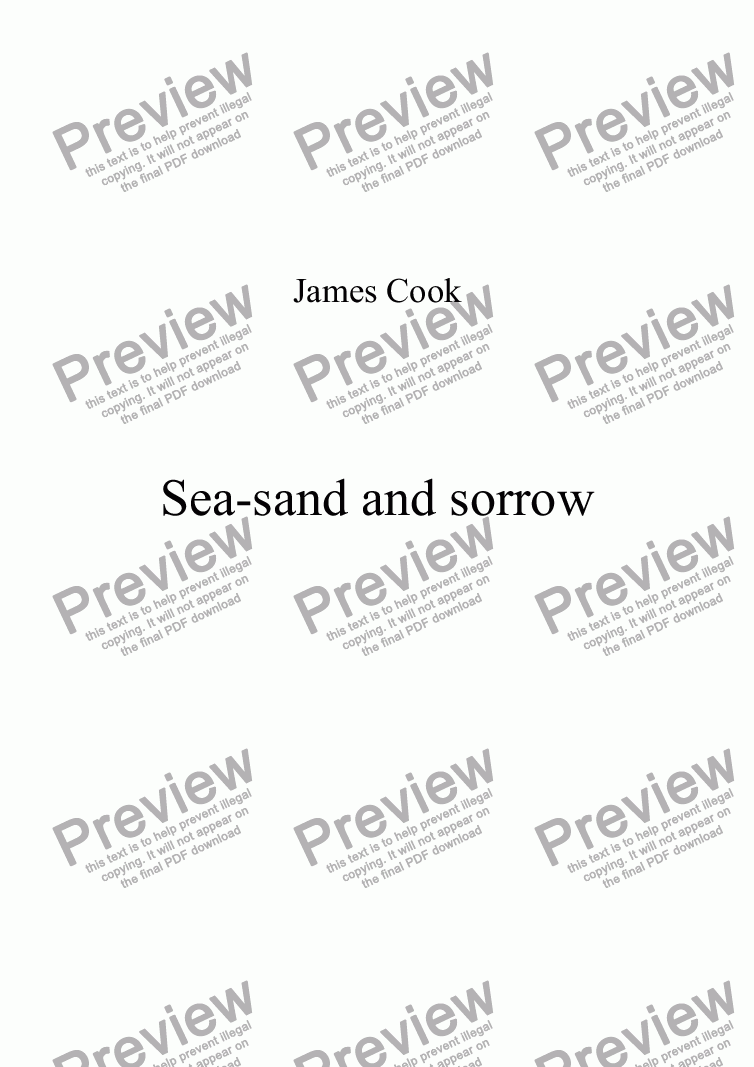 page one of Sea-sand and sorrow