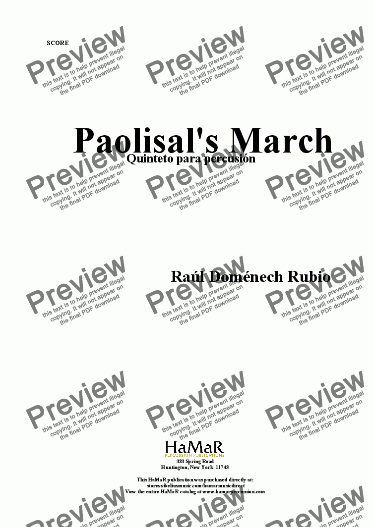 page one of Paolisal's March