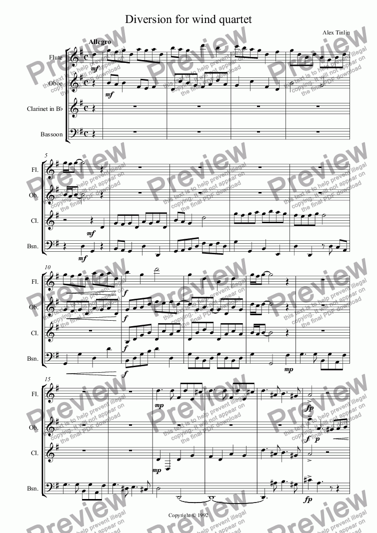 page one of Diversion for wind quartet