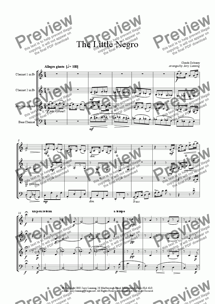 page one of The Little Negro (wind quartet)