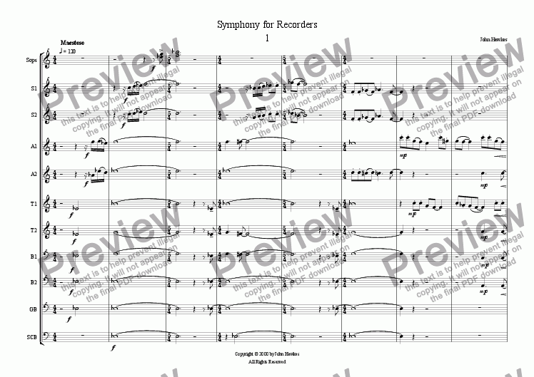 page one of Symphony for Recorders