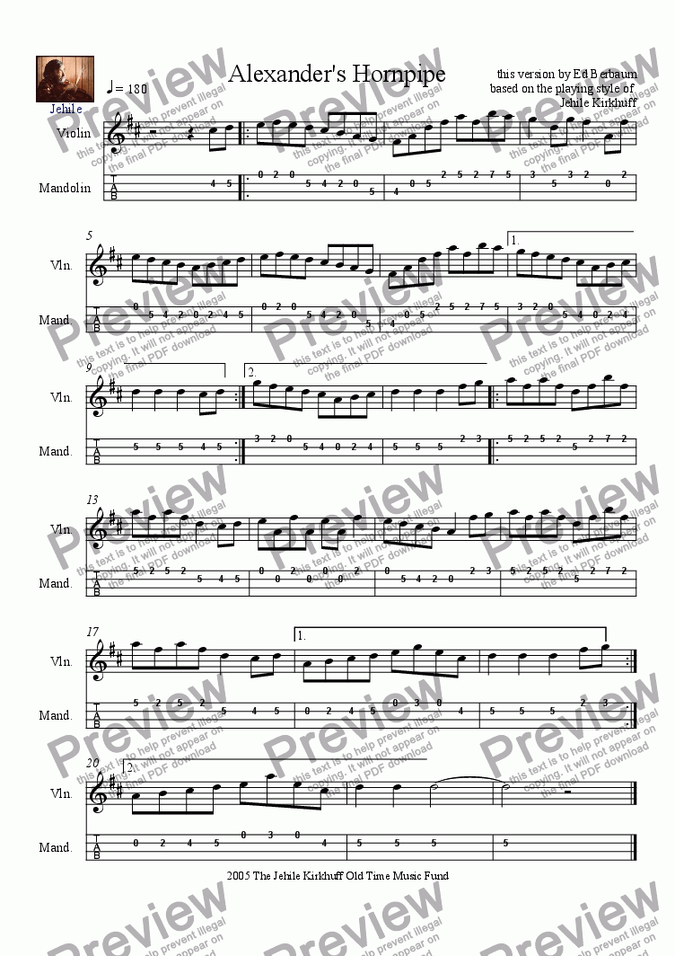 page one of Alexander's Hornpipe