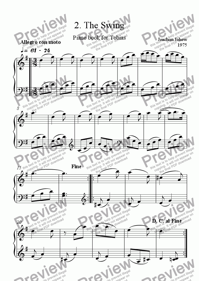 page one of Piano Book for Tobias 2 (The Swing)