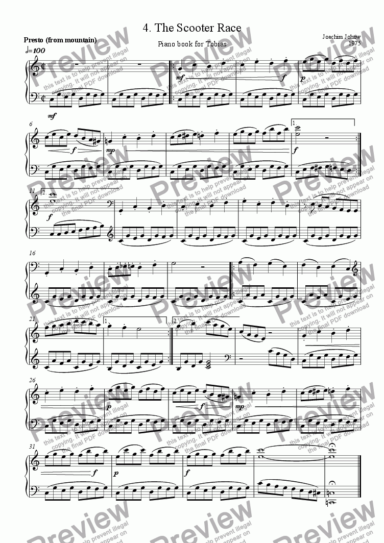 page one of Piano Book for Tobias 4 (The Scooter Race)