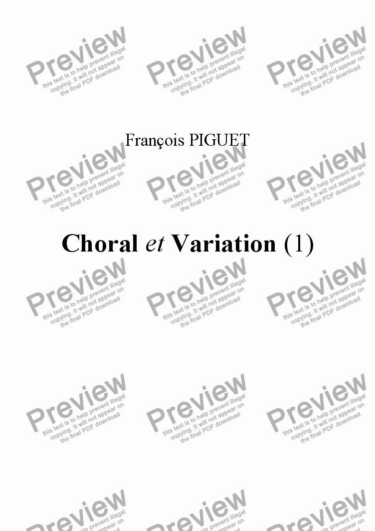 page one of Choral et Variation
