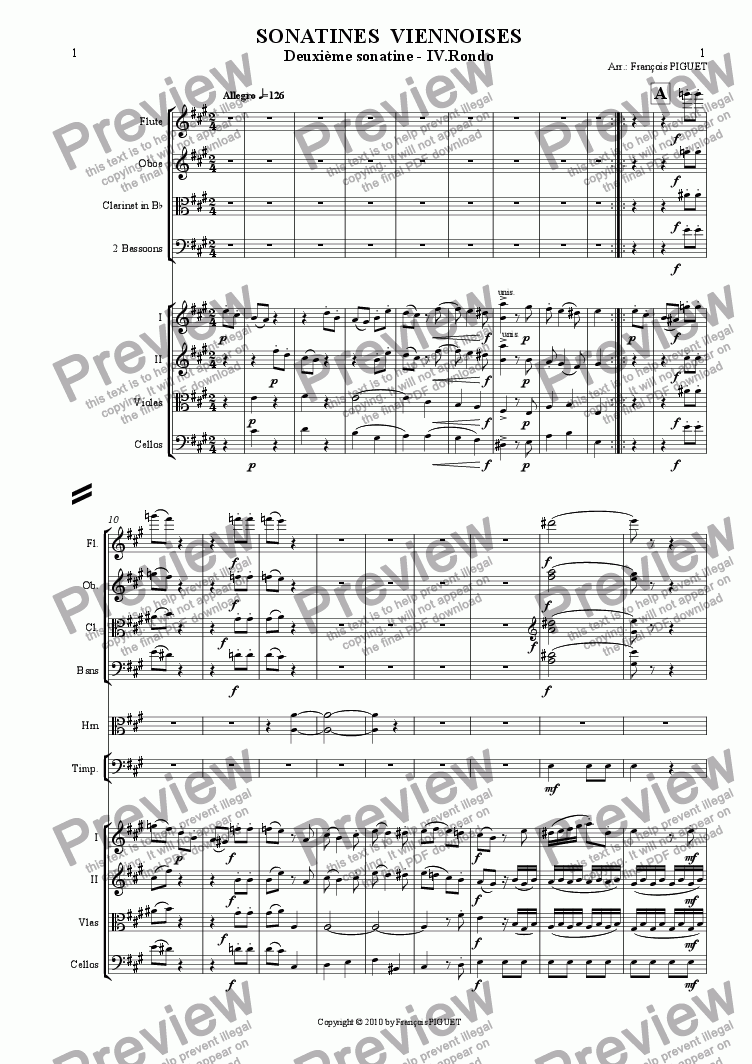 page one of MOZART: Viennese Sonatina Nr 2/IV arranged for chamber orchestra