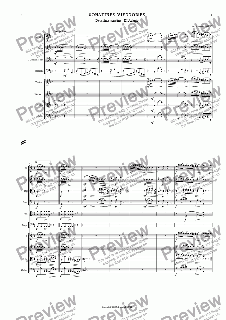 page one of MOZART: Viennese Sonatina Nr 2/III arranged for chamber orchestra