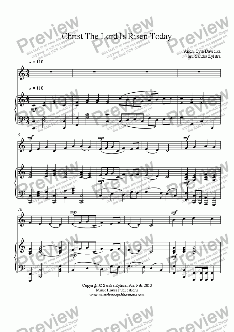 page one of Christ the Lord is Risen Today (solo instrument & piano)