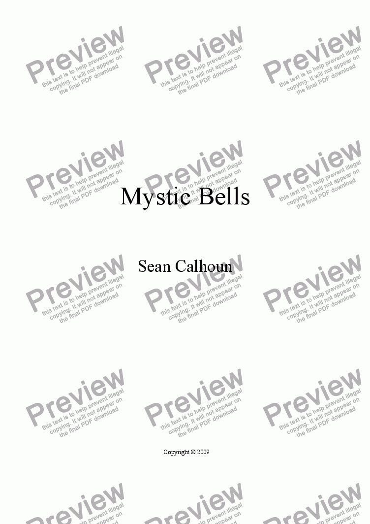 page one of Mystic Bells for harp and piano