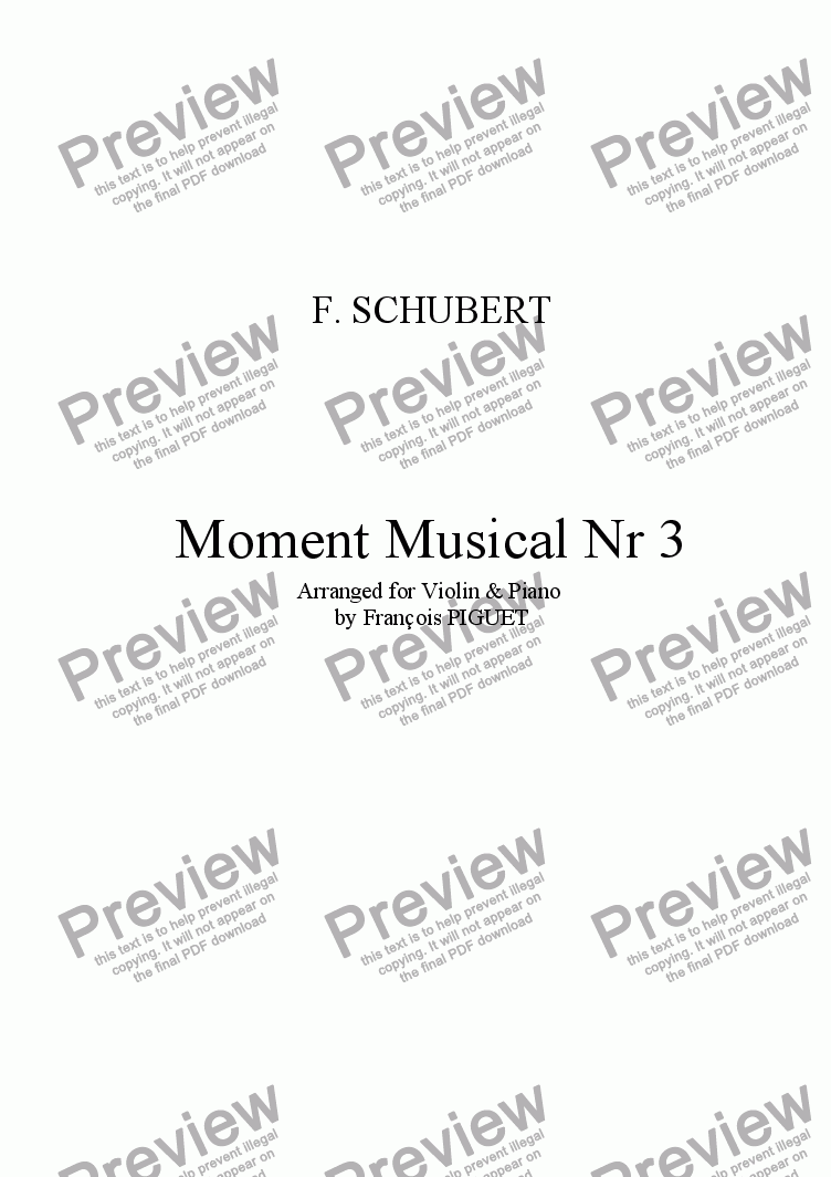 page one of Schubert: Moment Musical Nr 3 arranged for Violin and Piano