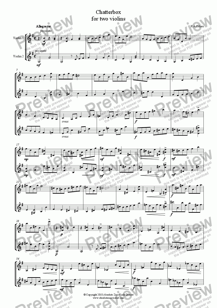 page one of CHATTERBOX - for two violins
