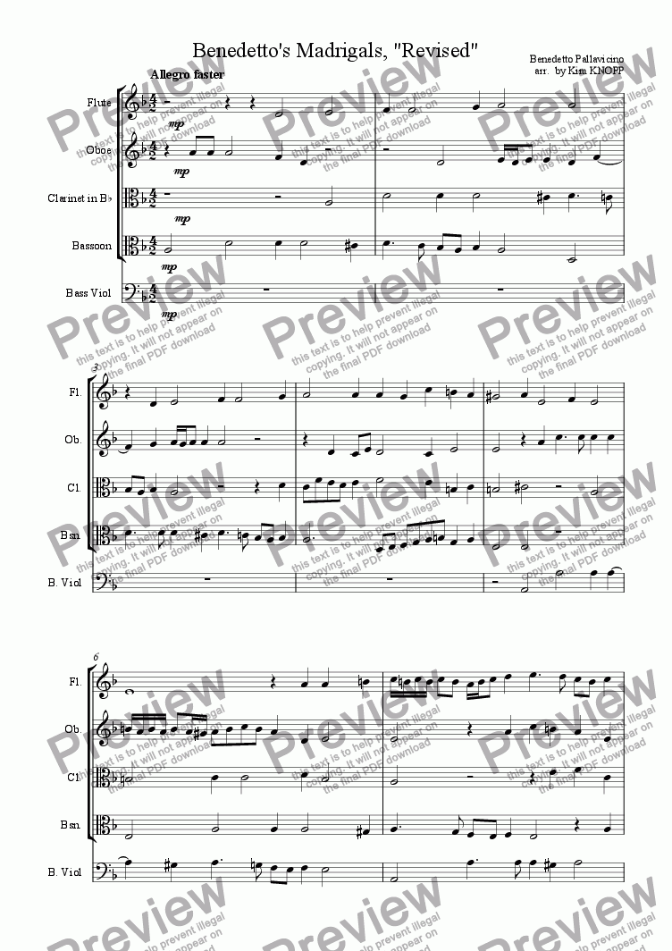 page one of Benedetto's Madrigals