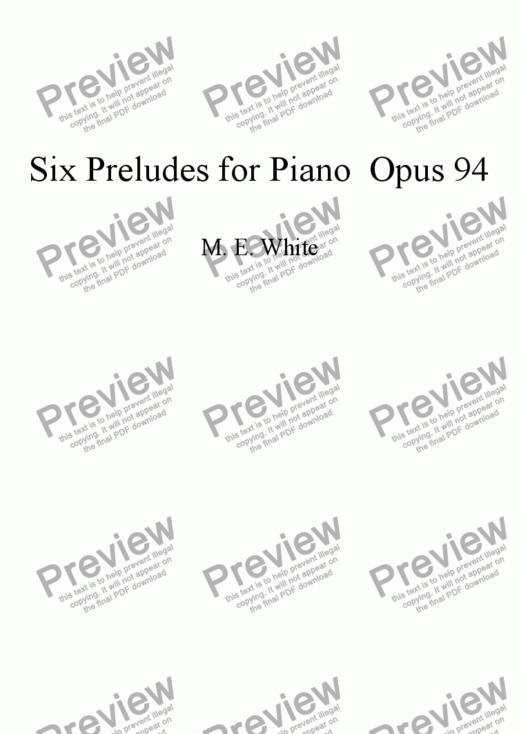 page one of Six Preludes for Piano Opus 94