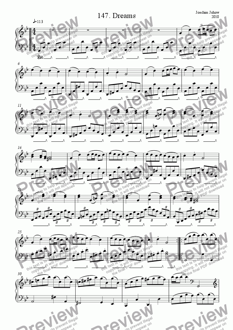 page one of Piano Book 148 (Dreams)