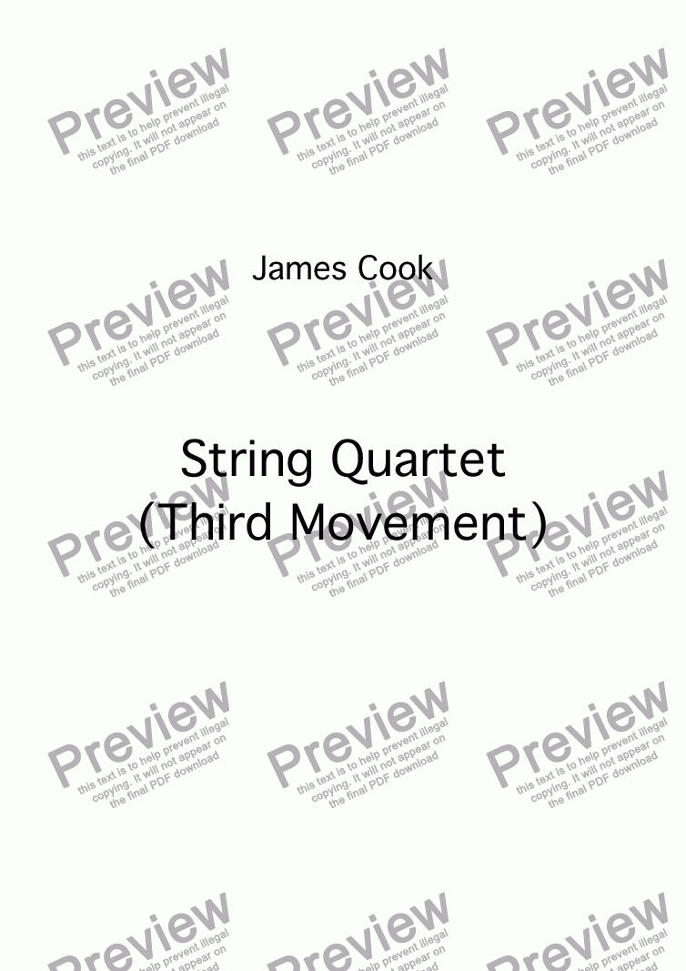 page one of String Quartet (Third Movement)