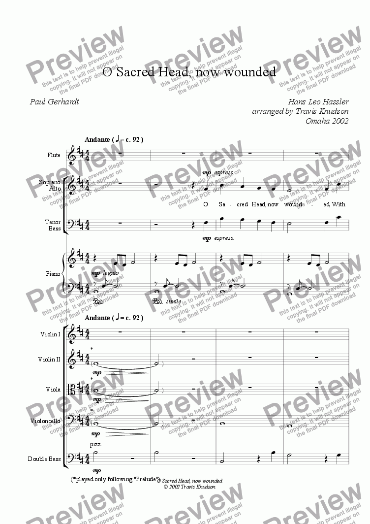 page one of O Sacred Head, now wounded (Mixed Chorus--Full Score)