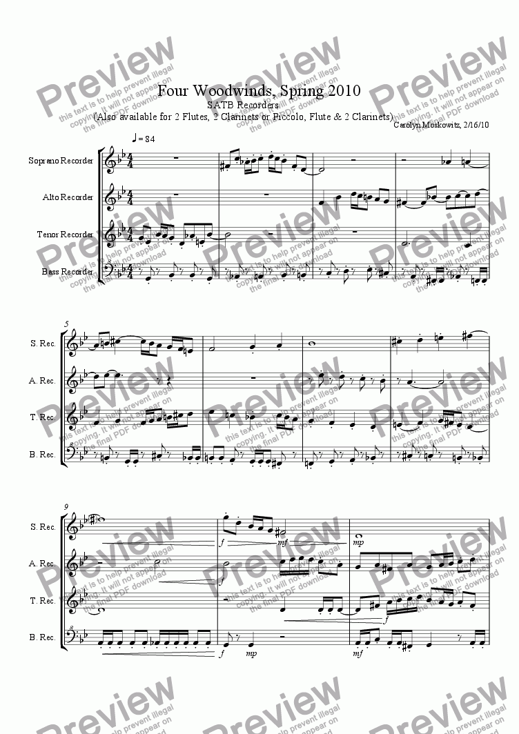 page one of Four Woodwinds, Spring 2010, SATB RecordersASALTTEXT