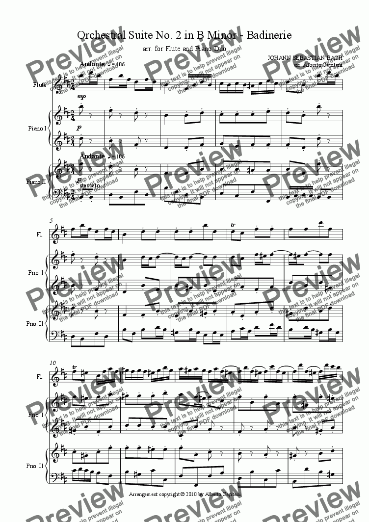 page one of Orchestral Suite No. 2 in B minor - Badinerie