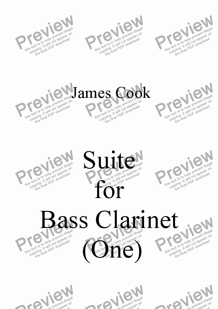 page one of Suite for Bass Clarinet (One)