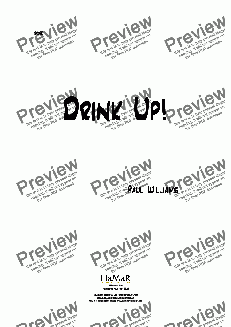 page one of Drink Up!