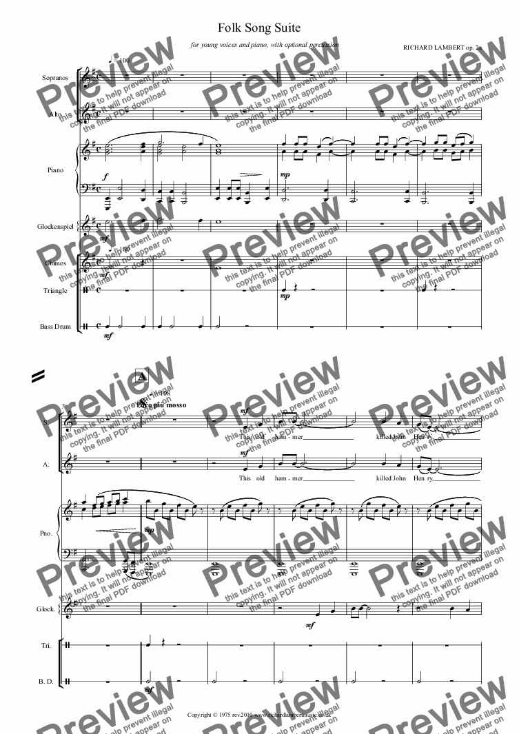 page one of Folk Song Suite for young voices and piano with optional percussion