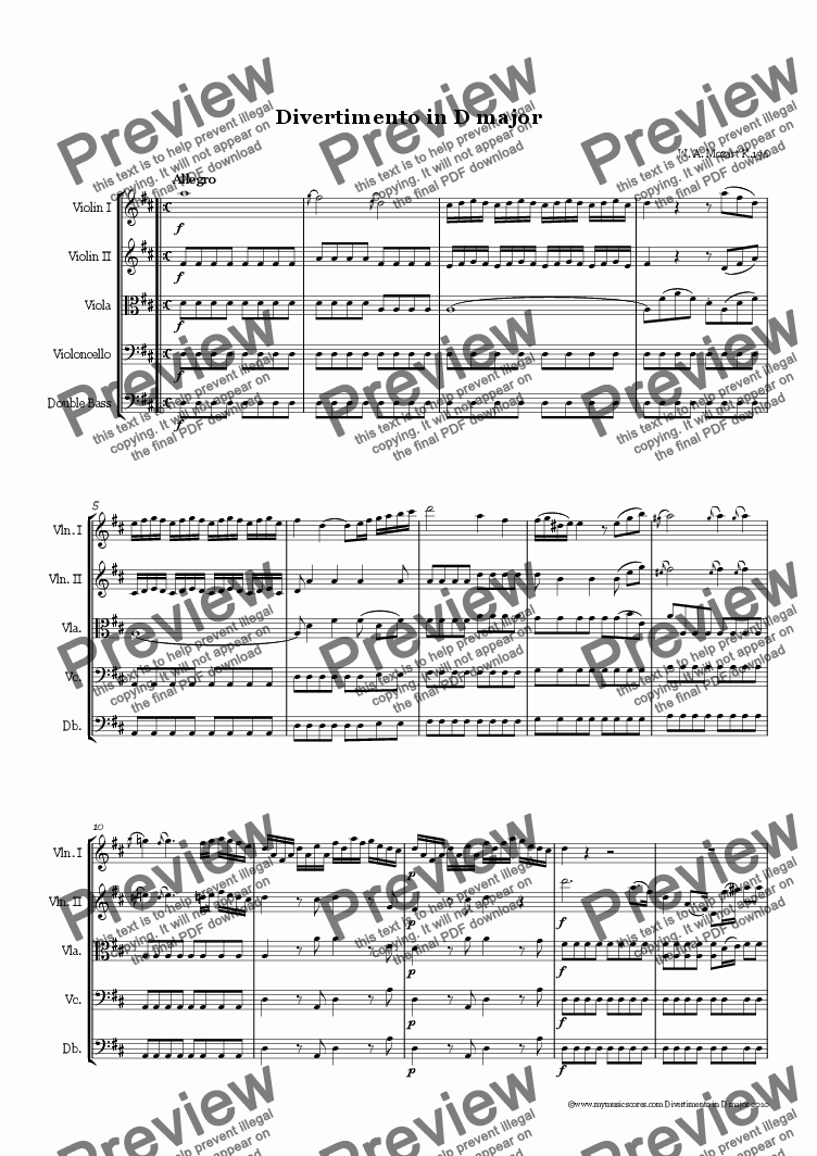page one of Mozart Divertimento K.136 for String Quartet/Orchestra