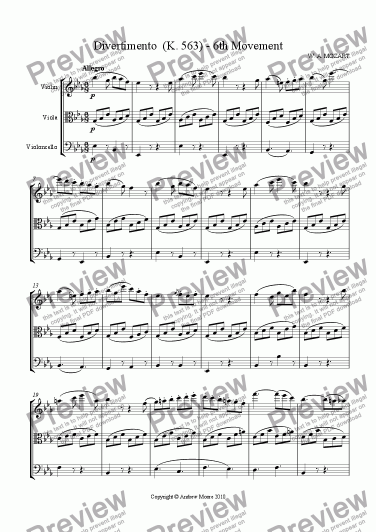 page one of Divertimento for String Trio K.563 - 6th Movement - Allegro