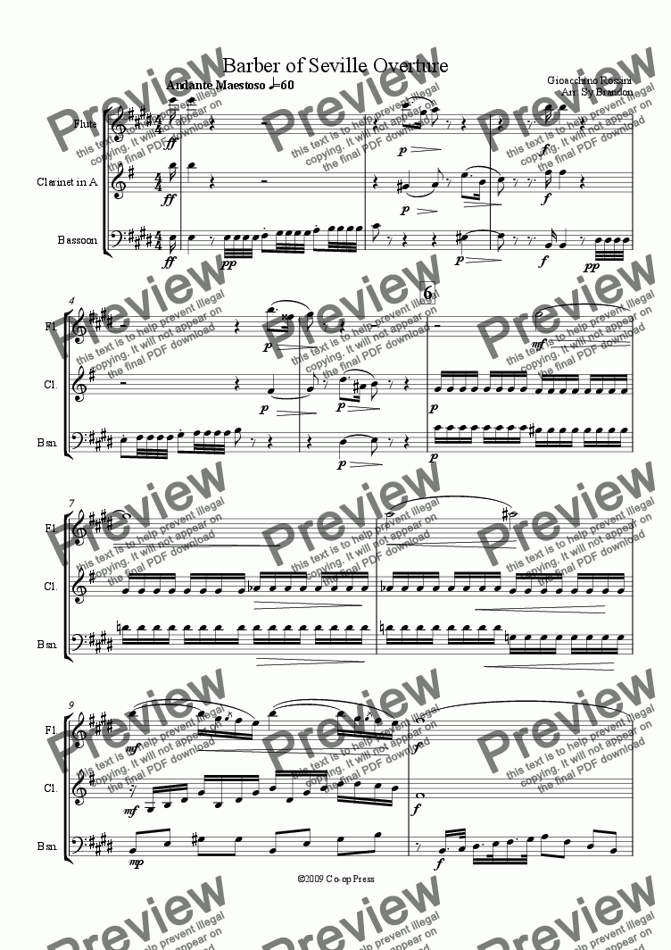 page one of Barber of Seville Overture for Woodwind Trio