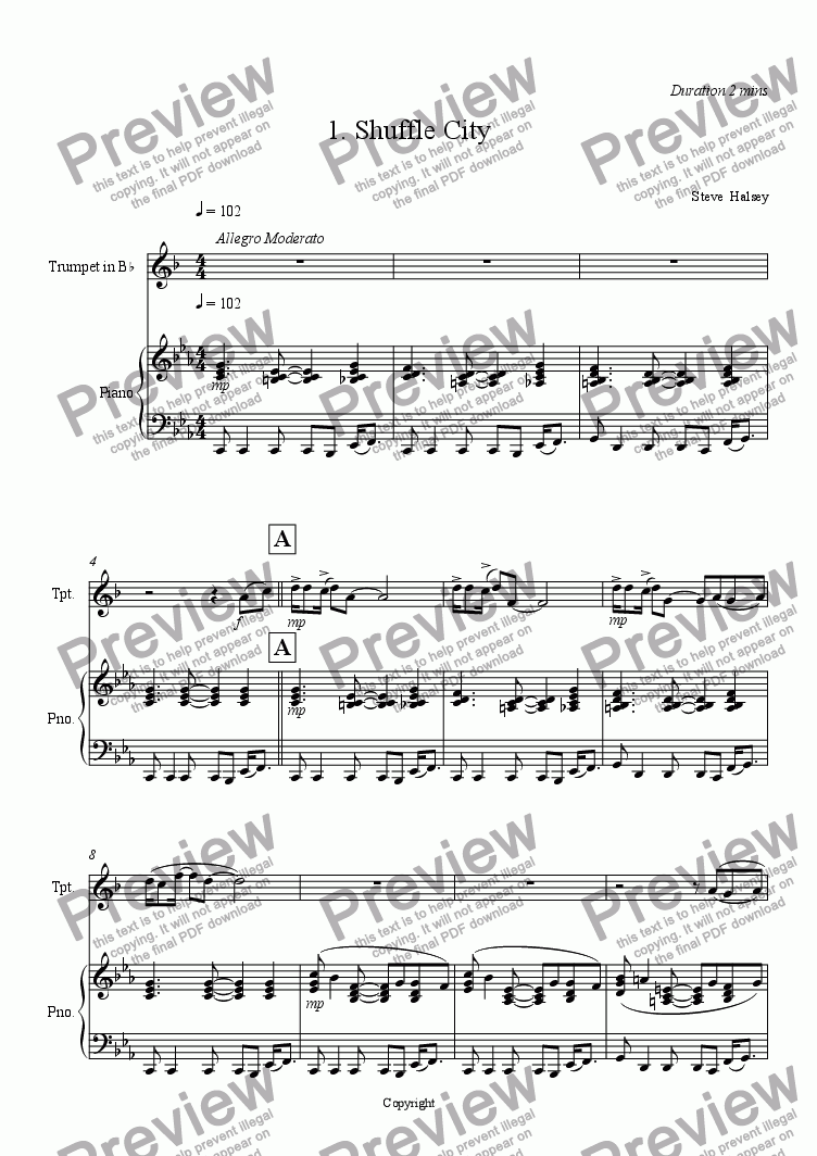 page one of Three Fancies for Trumpet and Piano