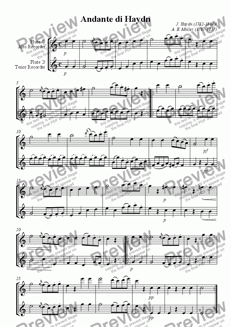 page one of Andante di Haydn for 2 Flutes or AT-Recorders by August Eberhard Mueller