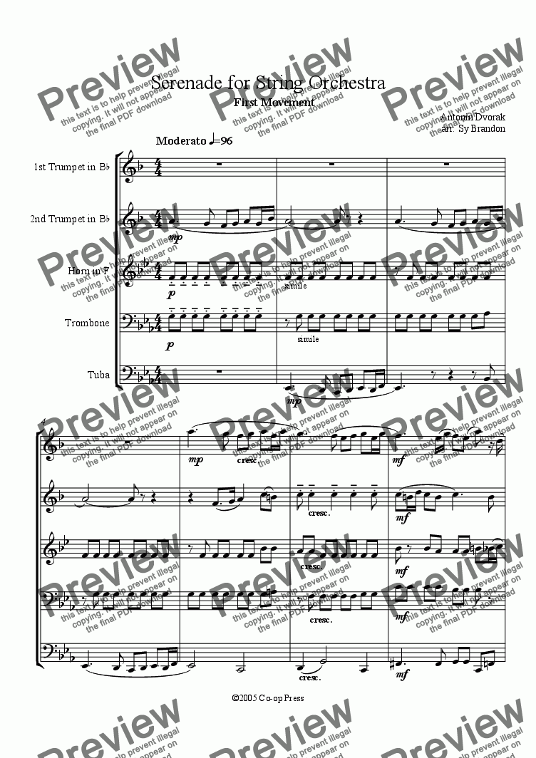 page one of Serenade for Strings First Movement arranged for Brass Quintet