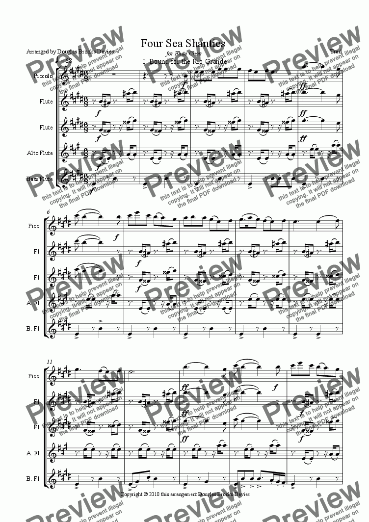 page one of SEA SHANTIES for Flute Choir (picc; 2fl; a/fl;bass fl )